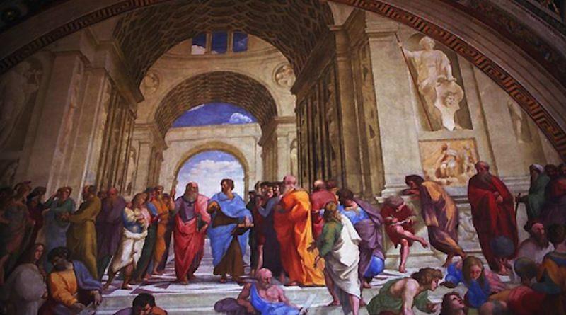 アテネの学堂(ラファエロ作)中央、青い着衣がアリストテレス。右隣はプラトン。